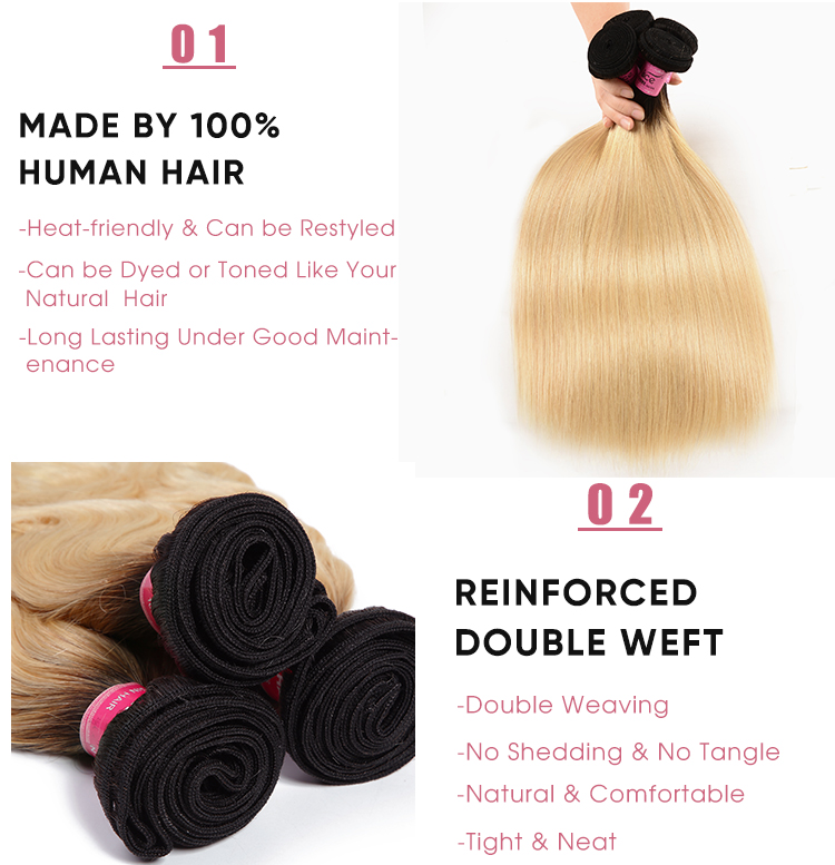 Straight Cheap 3 Pcs Human Hair Bundles 1B/613 Ombre