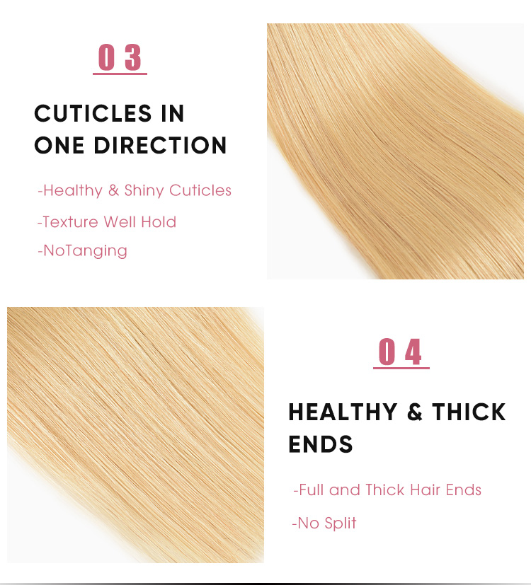 Straight 3 Bundles Human Hair Weave 1B/613 Ombre