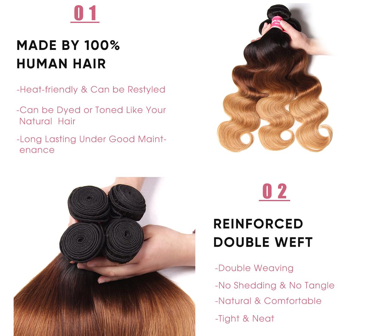 4 Bundles Body Wave T1B/4/27 Ombre 100 Human Hair Weave