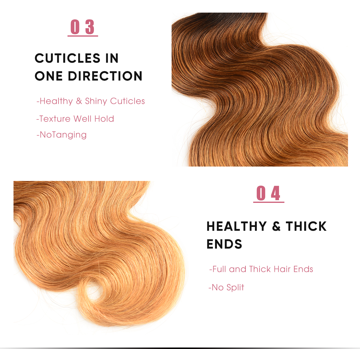 Body Wave Human Hair Bundles T1B/4/27 Ombre