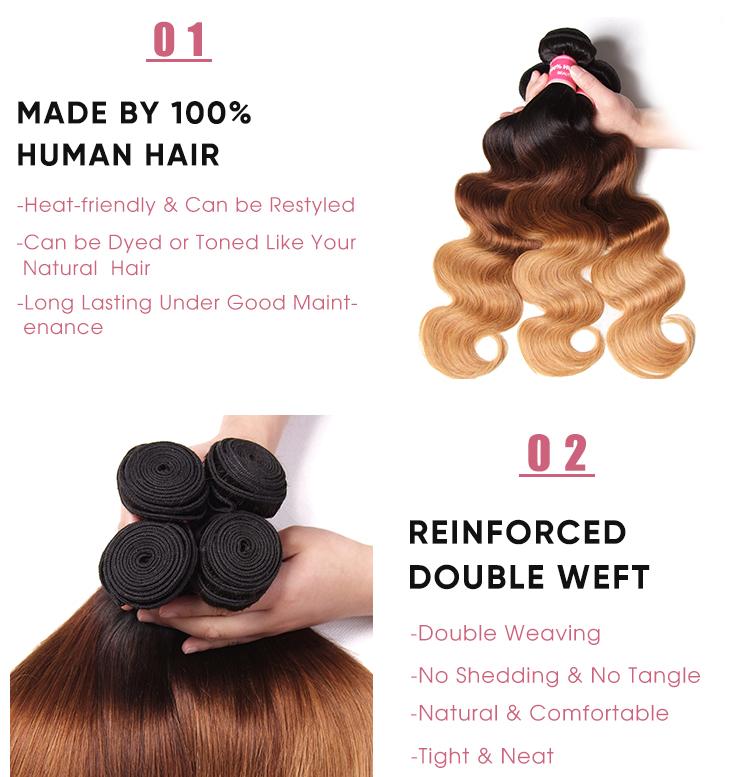 Body Wave Cheap 3 Pcs Human Hair Bundles T1B/4/27 Ombre
