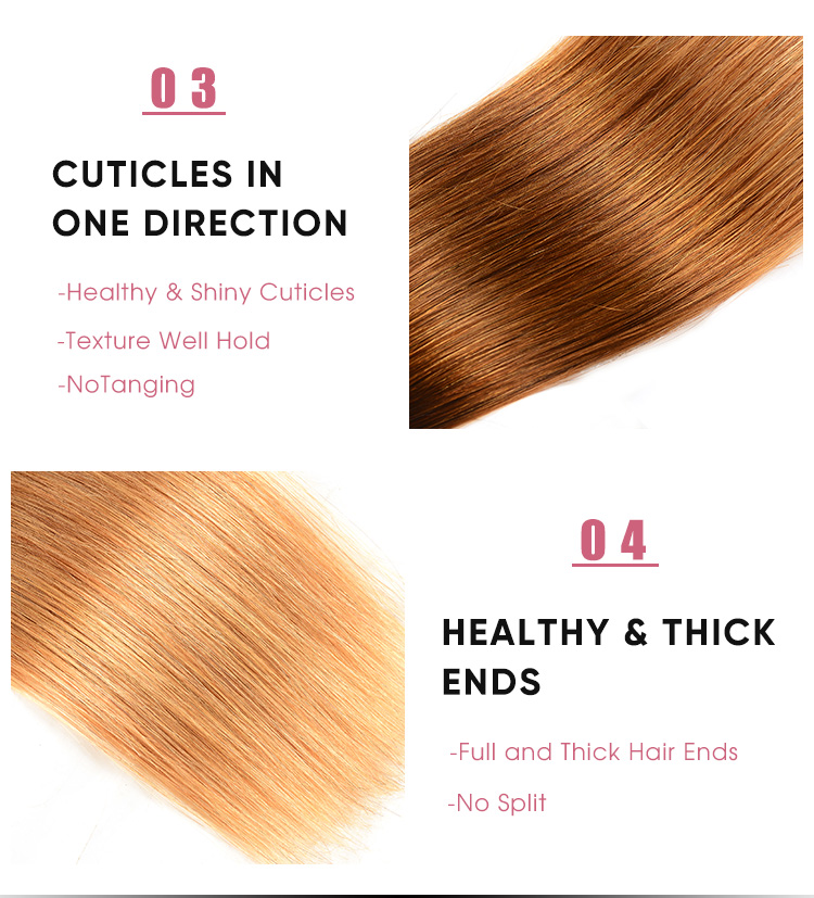 Straight Human Hair Bundles T1B/4/27 Ombre