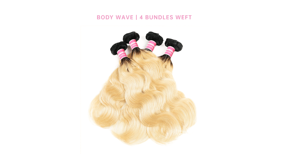 Body Wave 4 Bundles Human Hair Weave 1B/613 Ombre