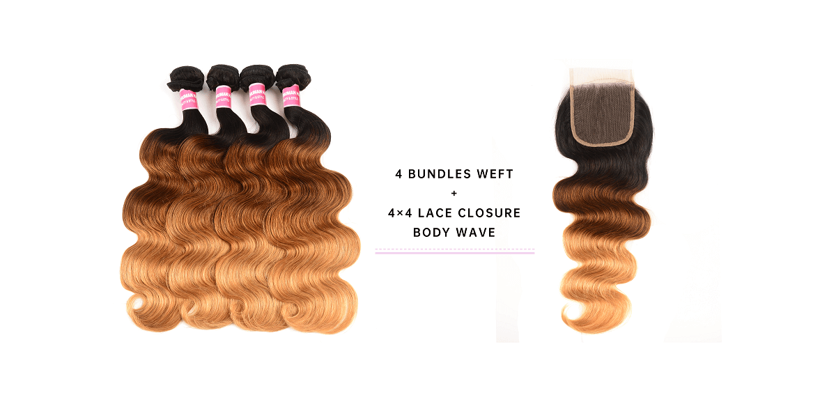 Body Wave Hair 4 Bundles With 4x4 Lace Closure
