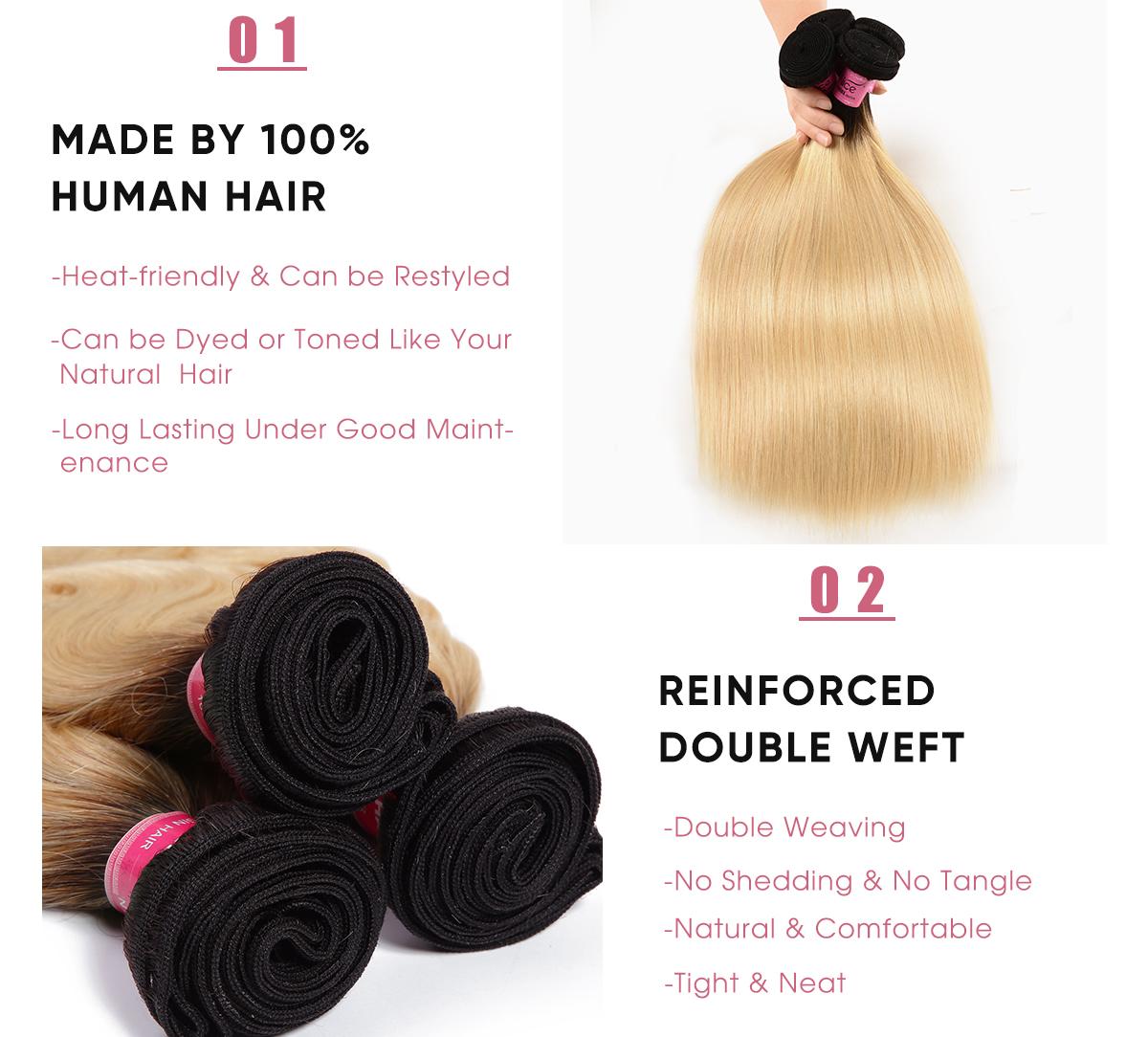 Straight Cheap 3 Pcs Human Hair Bundles 1B/613 Ombre