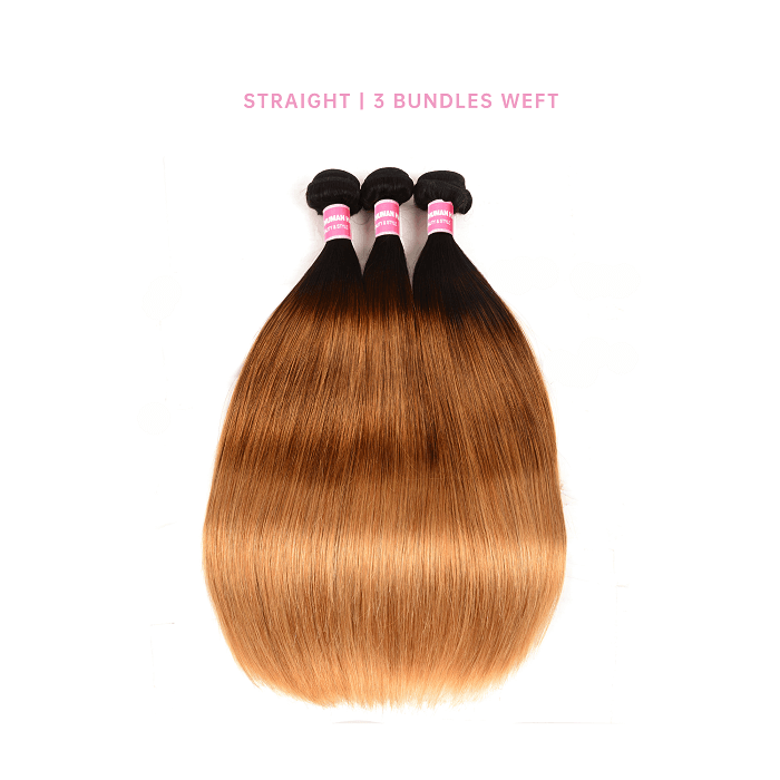 Straight 3 Bundles Human Hair Weave T1B/4/27 Ombre