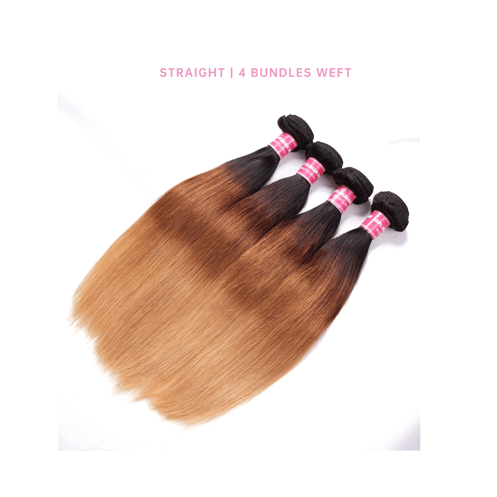 Straight 4 Bundles Human Hair Weave T1B/4/27 Ombre