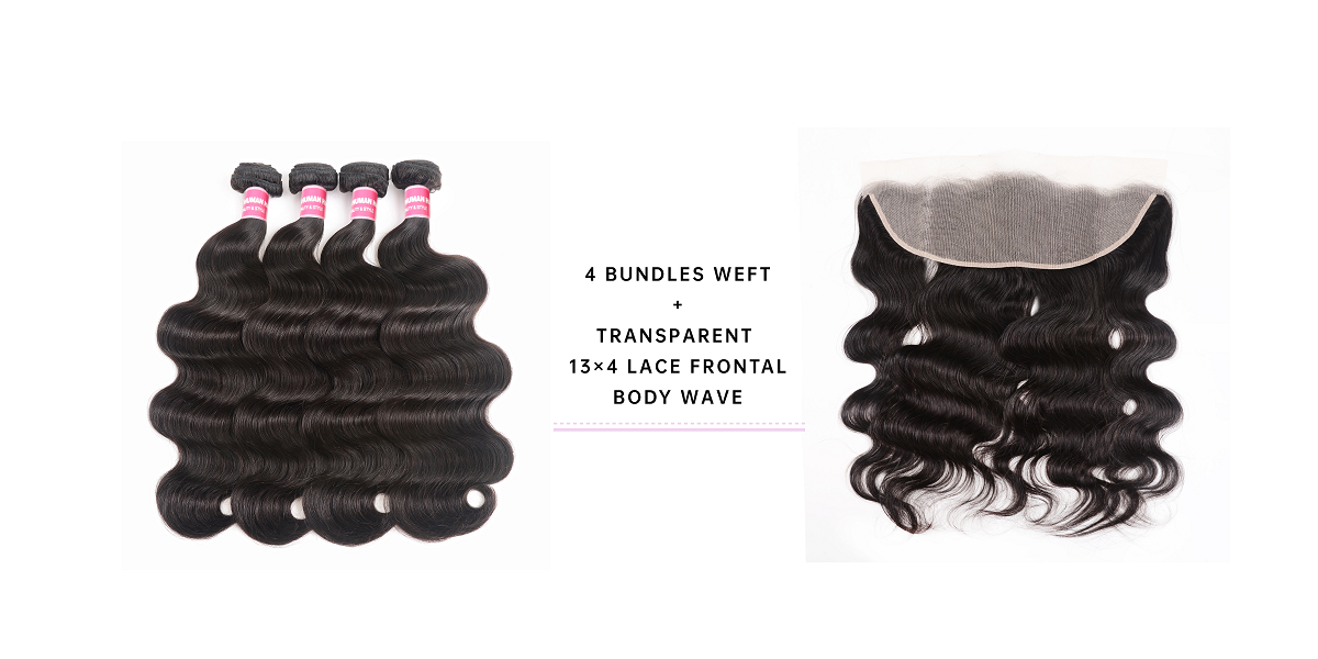 Virgin Hair Bundles Body Wave With Frontal