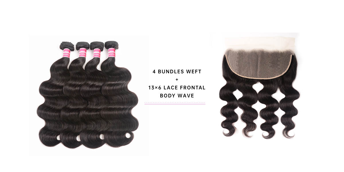 4pcs Body Wave With 13x6 Lace Frontal
