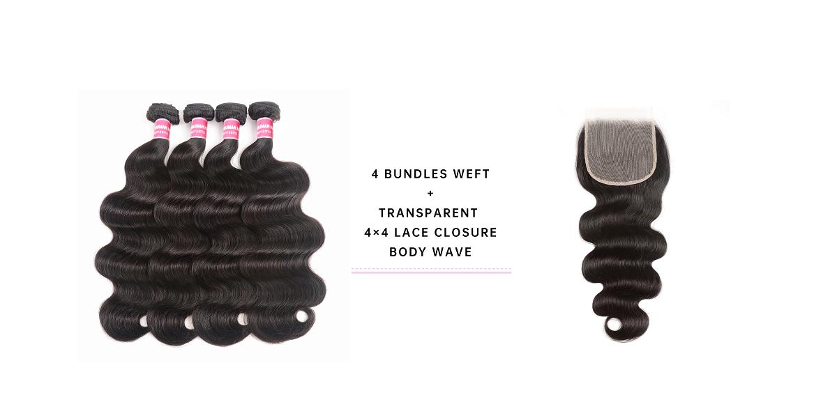 Body Wave 4 Bundles With 4x4 Transparent Lace Closure
