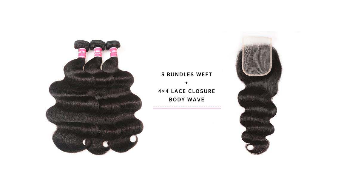 Body Wave Virgin Hair 3 Bundles With Closure