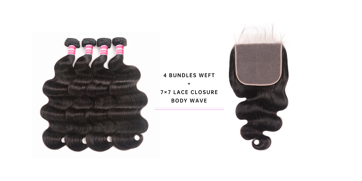 4 Bundles Body Wave Virgin Hair With 7x7 Lace Closure