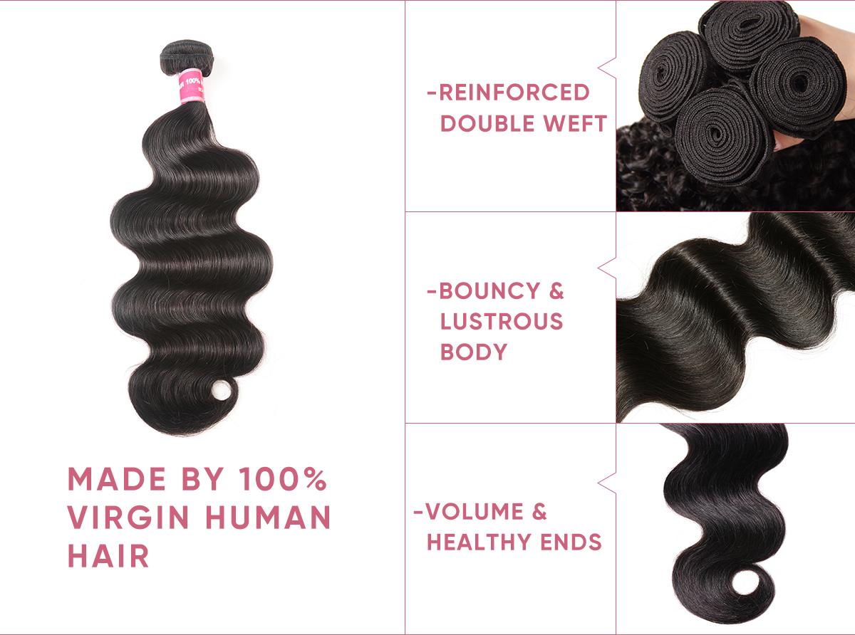 3 Bundles Human Hair With 4x4 Lace Closure