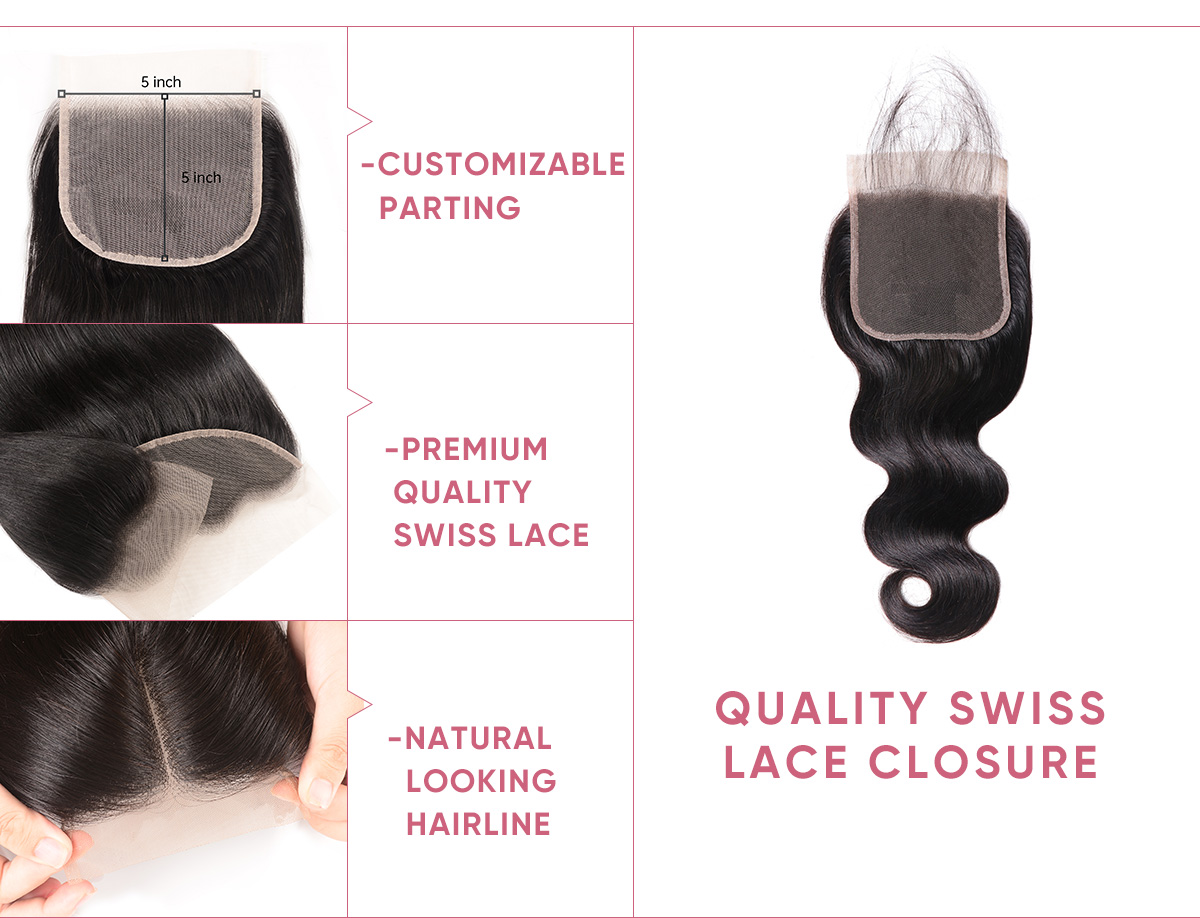 Body Wave Virgin Hair 4 Bundles With 5x5 Lace Closure
