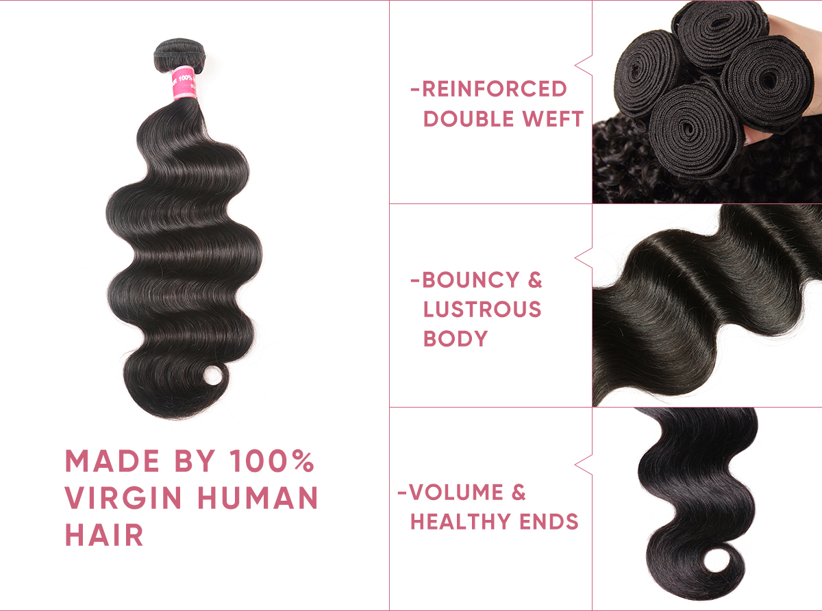 Body Wave Bundles With 5x5 Transparent Lace Closure