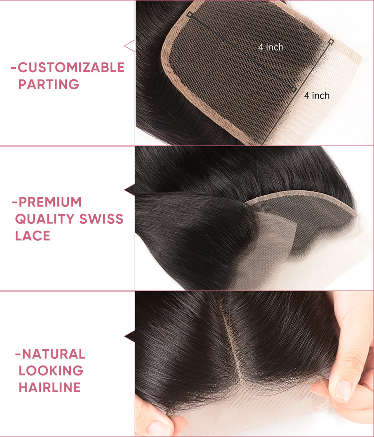 Body Wave Bundle Deals With 4x4 Lace Closure