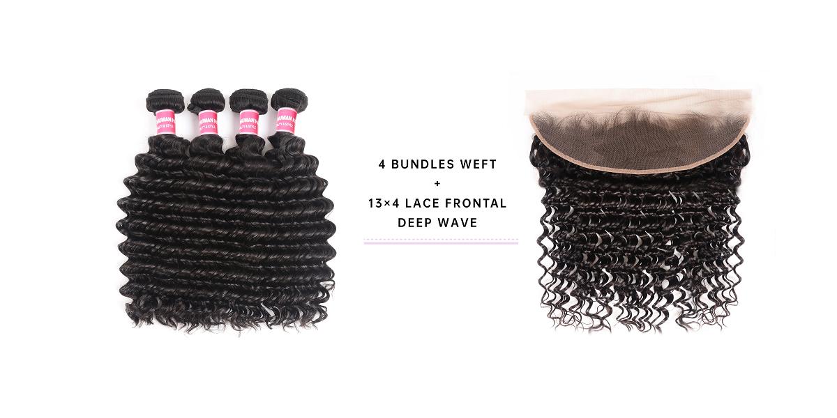 4 Bundles Deep Wave Virgin Hair With Frontal