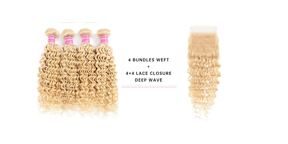 Deep Wave Human Hair 4pcs With Lace Closure