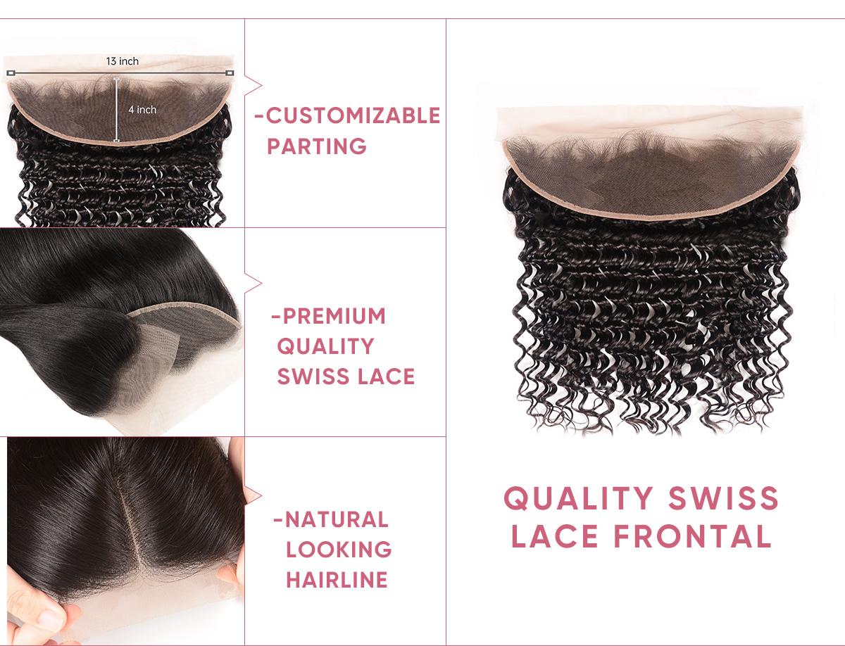 Deep Wave Human Hair Bundles With Frontal