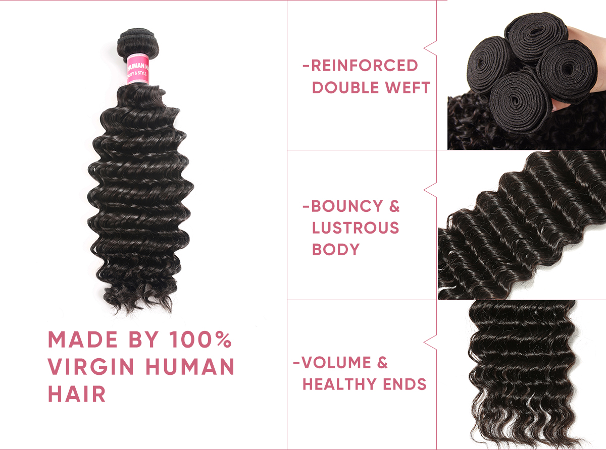 Deep Wave 3 Bundles With Closure 4x4 Inch