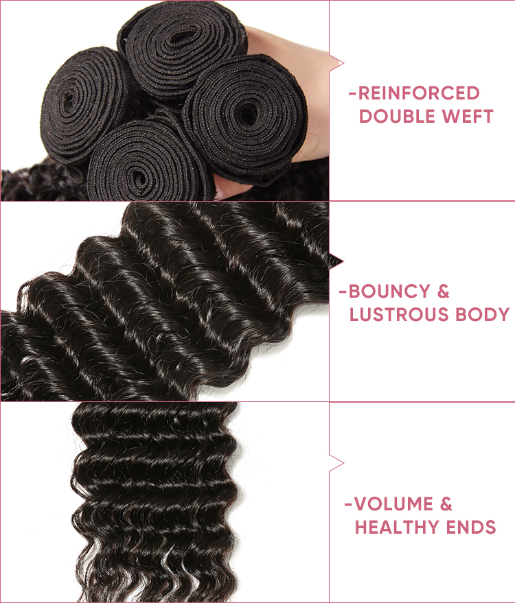Deep Wave 3 Bundles With Closure 4x4 Inch