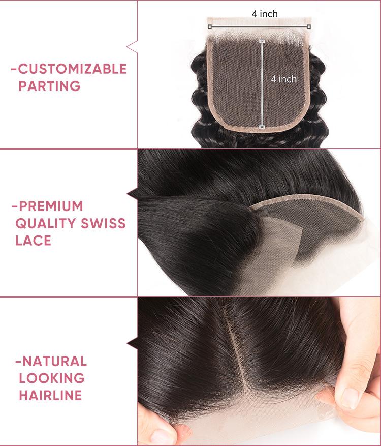 Deep Wave Human Hair Bundles With Closure