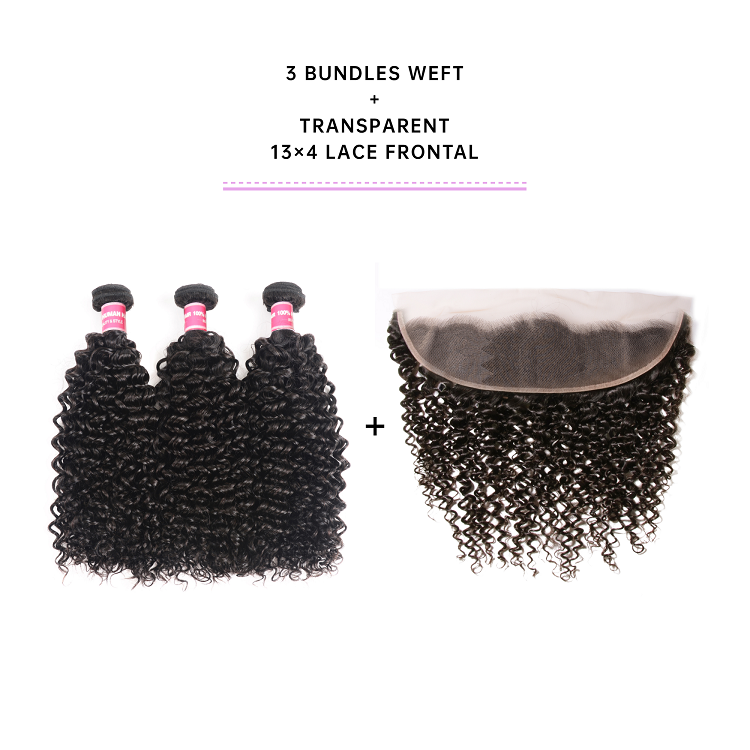 Jerry Curly Weave Hair With 13x4 Transparent Lace Frontal