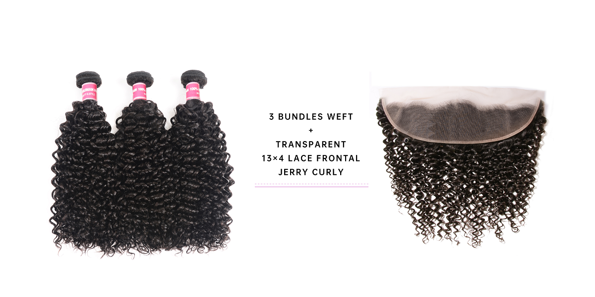 Jerry Curly Virgin Hair Bundles With 13x4 Lace Frontal