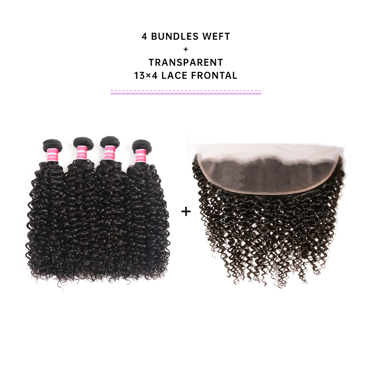 Jerry Curly 4 Bundles With 13x4 Transparent Lace Frontal