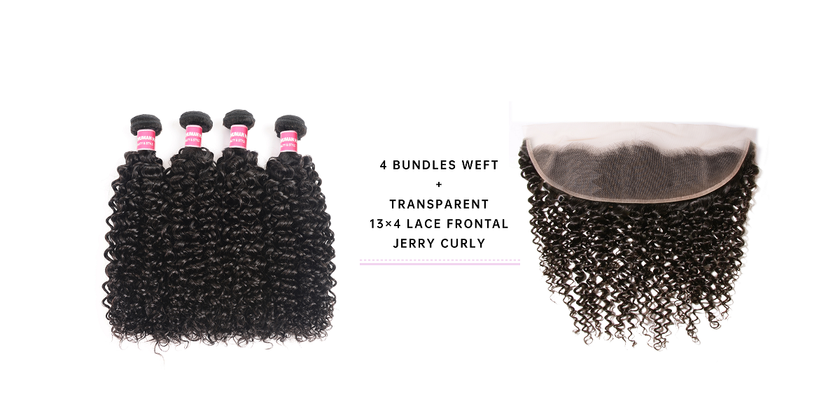 Jerry Curly Virgin Hair 4 Bundles With Transparent Lace Frontal