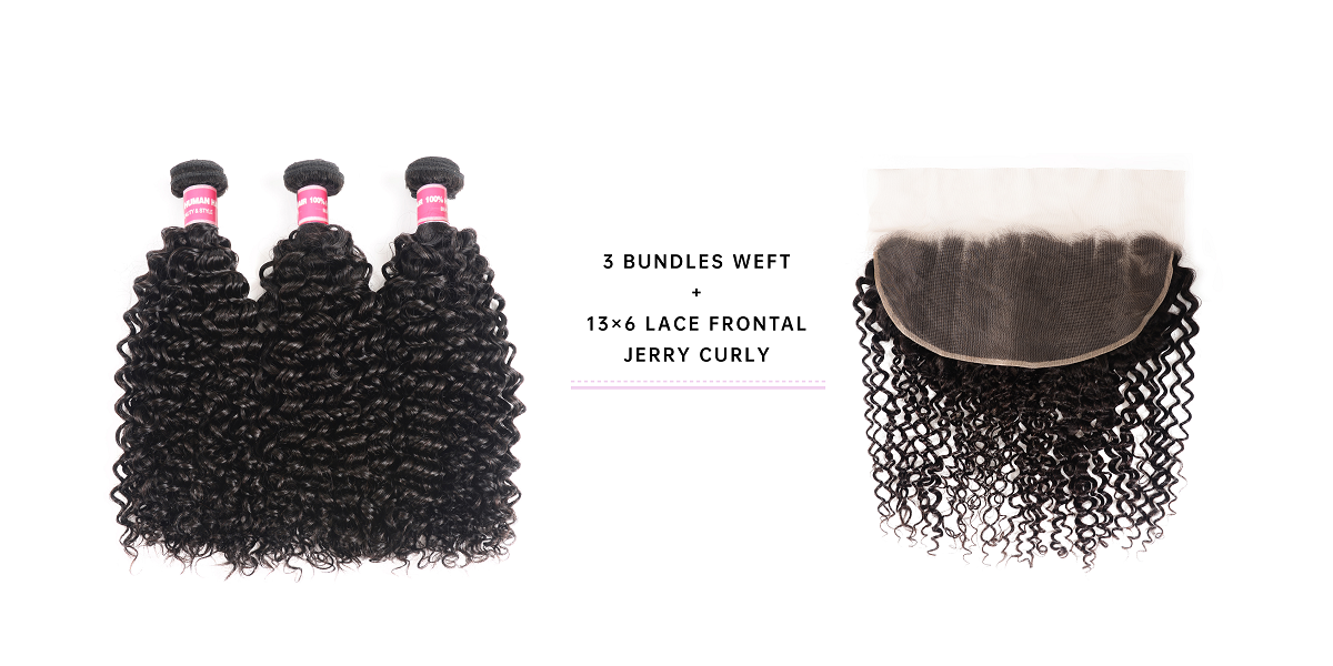 Jerry Curly Bundles With 13x6 Lace Frontal
