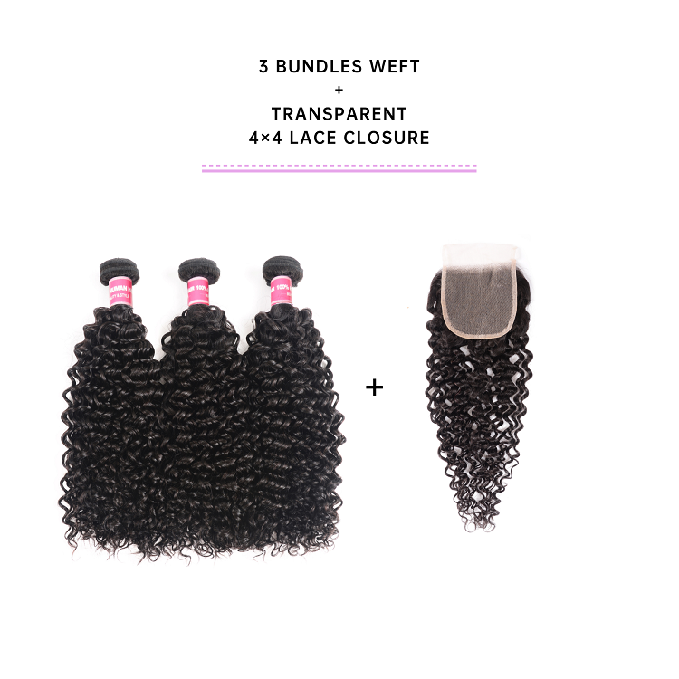3 Bundles Jerry Curly With Transparent Closure Deal