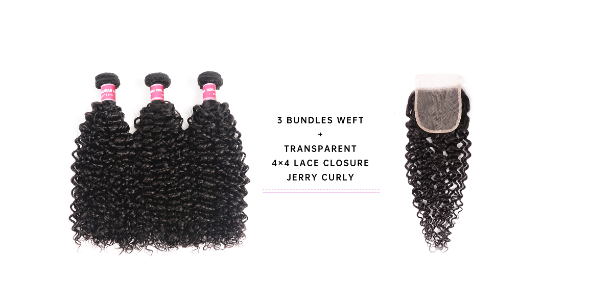 Jerry Curly Human Hair With 4x4 Transparent Closure