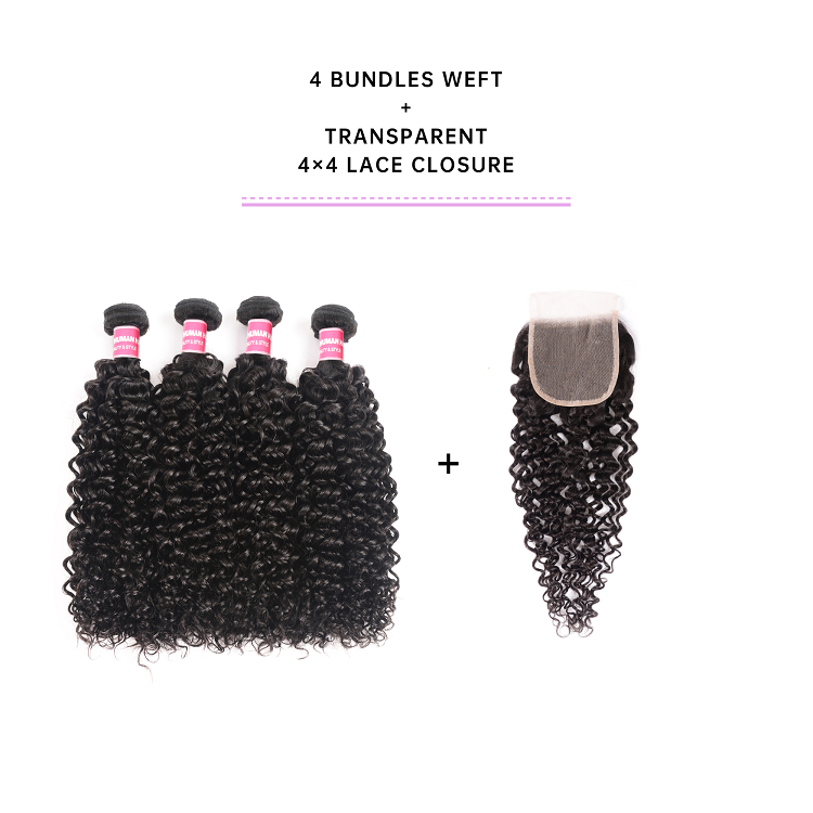 Jerry Curly Virgin Hair 4 Bundles With Closure