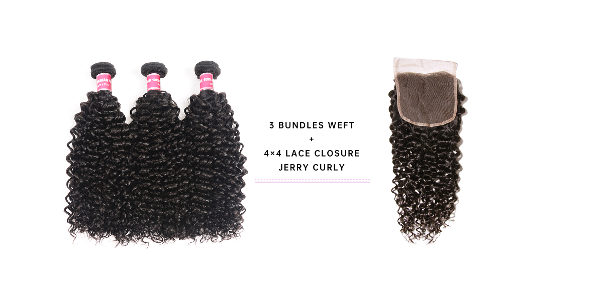 Jerry Curly 3 Bundle Deals With 4x4 Closure