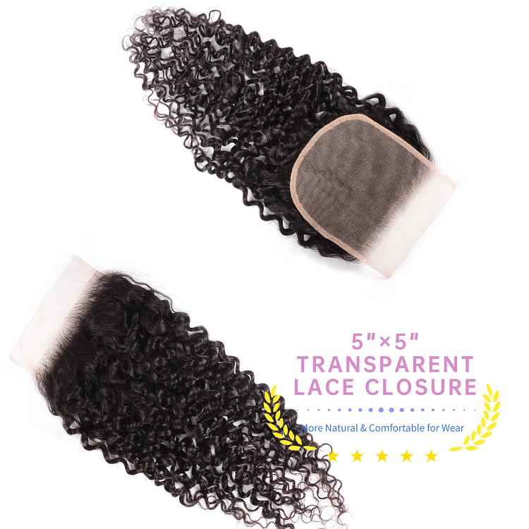3 Bundles Jerry Curly Virgin Hair With Transparent Closure