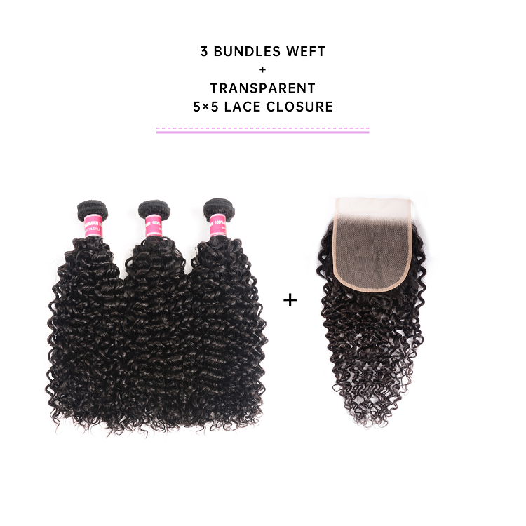 Jerry Curly Hair 3 Bundles With 5x5 Lace Closure