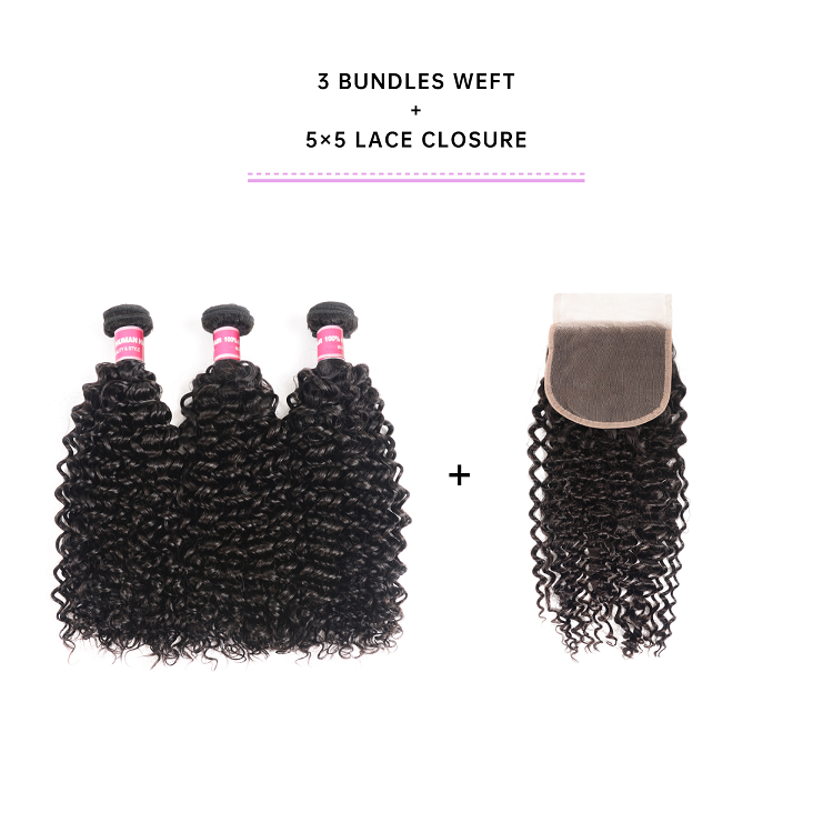 Jerry Curly Human Hair Bundles With Closure