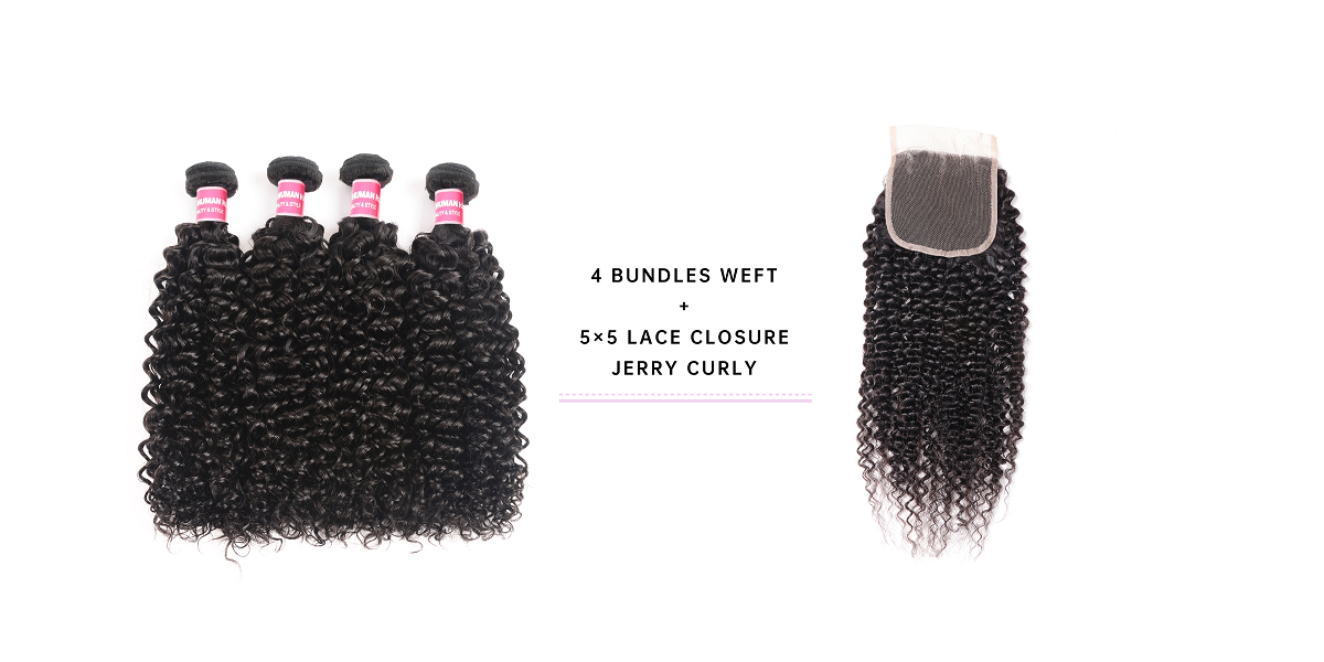 Jerry Curly Hair 4 Bundles With 5x5 Lace Closure