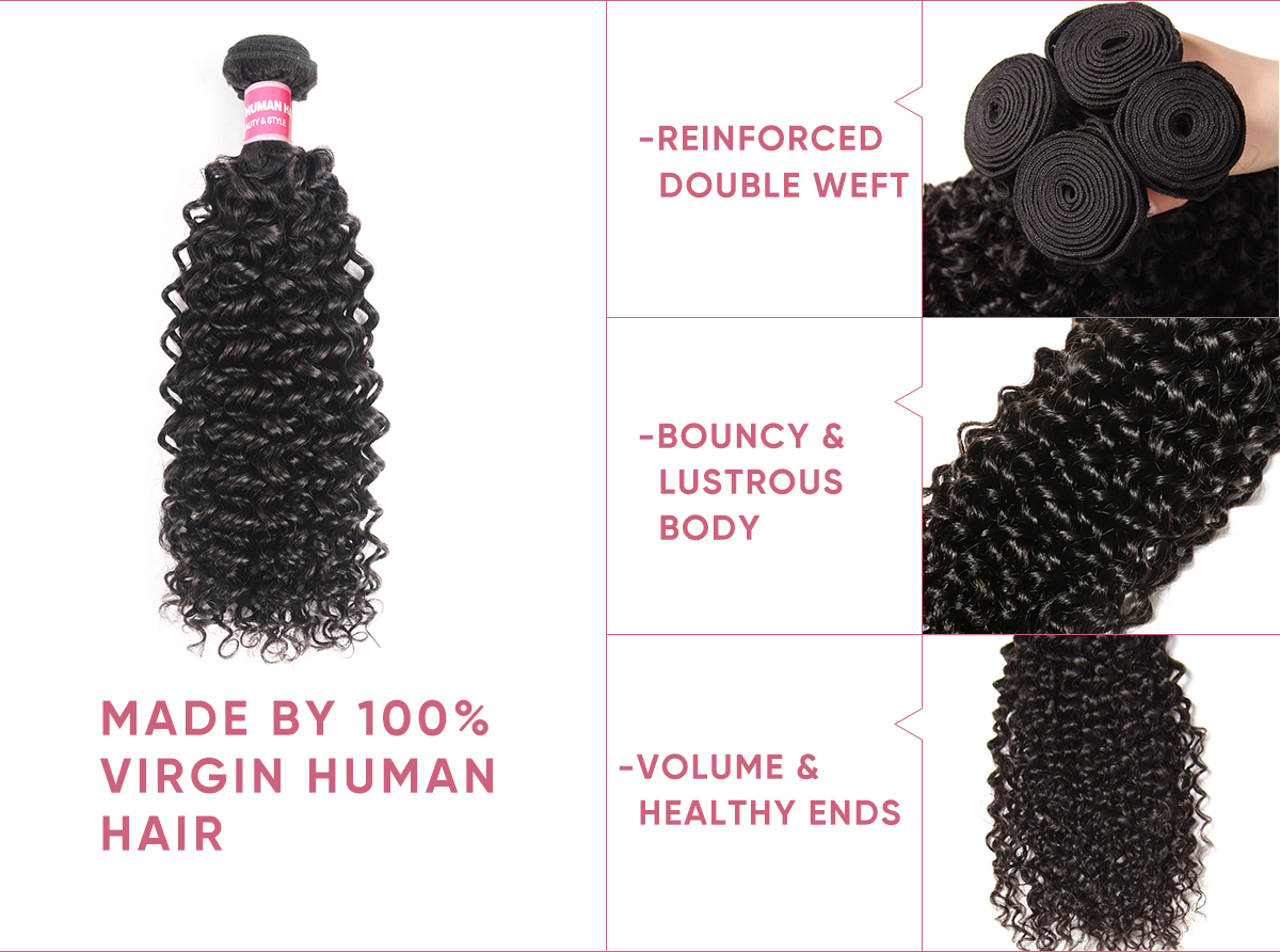Jerry Curly Bundle Deals With 4x4 Lace Closure