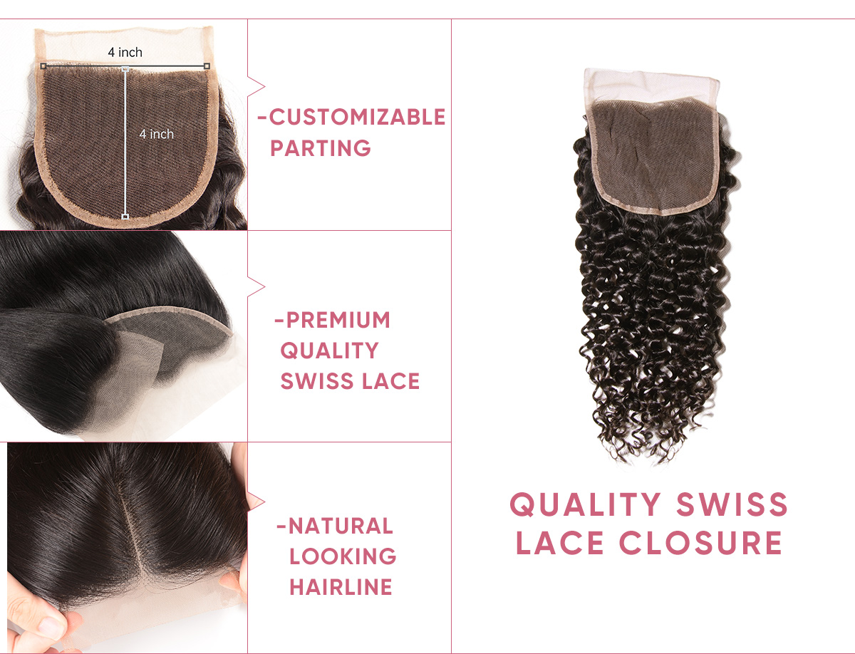 Jerry Curly Hair Bundle Deals With Closure