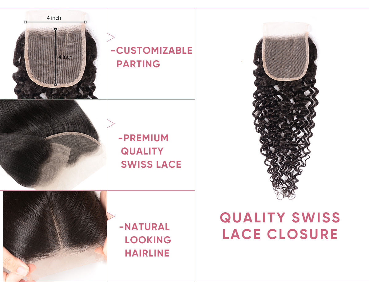 Jerry Curly 3 Bundle Deals With Transparent Closure