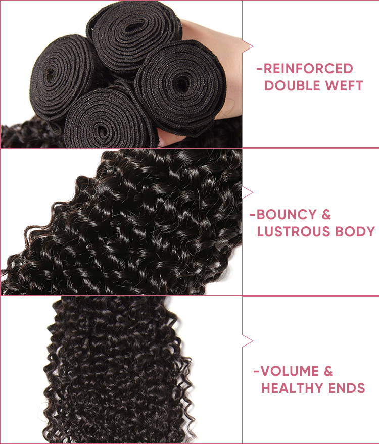 Jerry Curly Virgin Hair 3 Bundles With 13x6 Lace Frontal