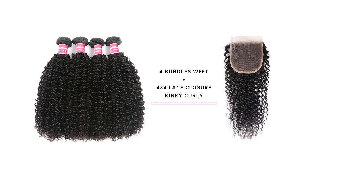 4 Bundles Kinky Curly Hair With 4x4 Lace Closure