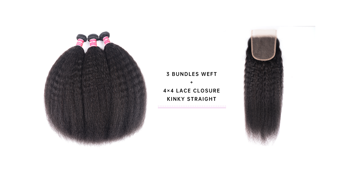 Kinky Straight Bundles With 4x4 Lace Closure