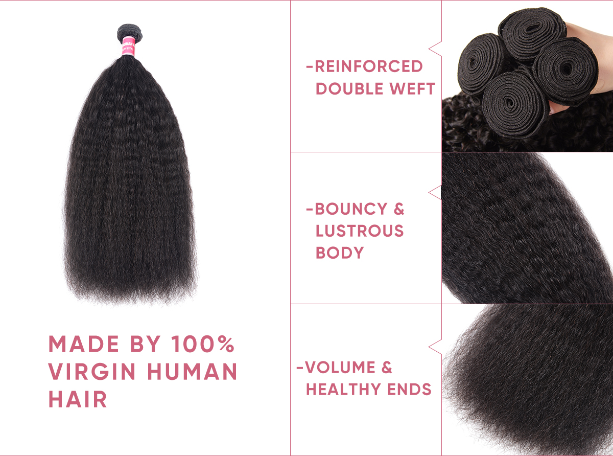 Kinky Straight Human Hair Bundles With Closure