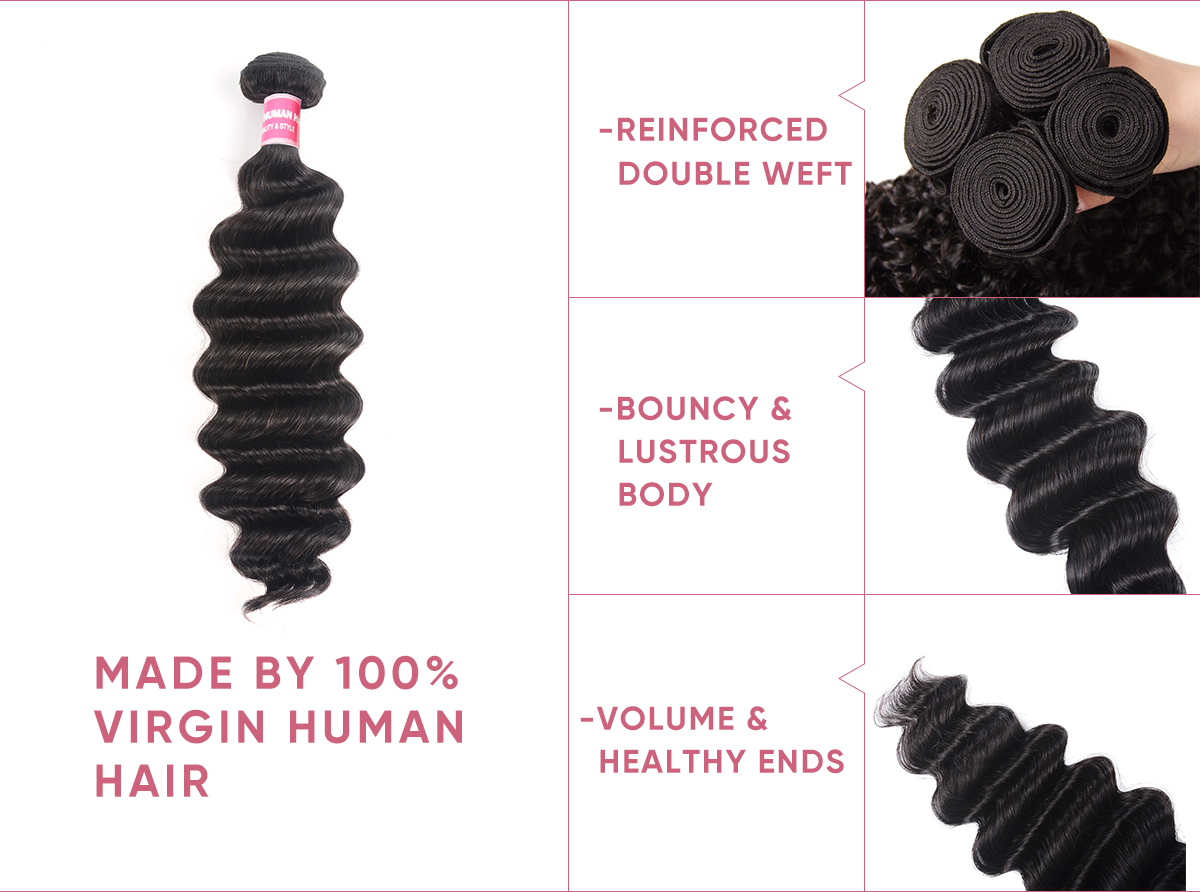 4pcs Loose Deep Wave Human Hair With Lace Frontal