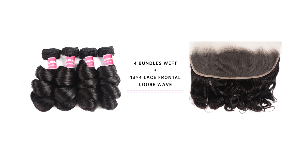Brazilian Hair Loose Wave Bundles With Frontal