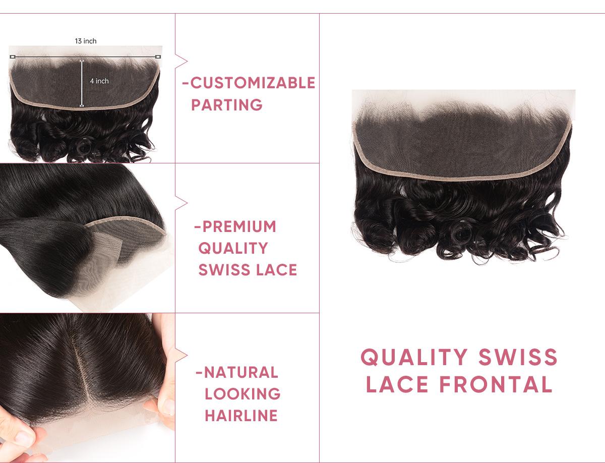 Virgin Hair Loose Wave Bundles With Frontal