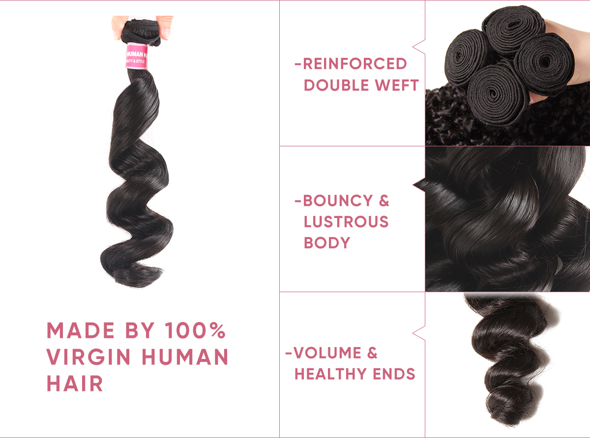 3pcs Loose Wave Human Hair With Lace Closure